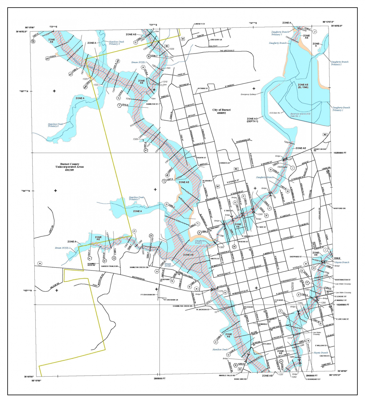 Flood Hazard Mapping Burnet Texas - Flood line map